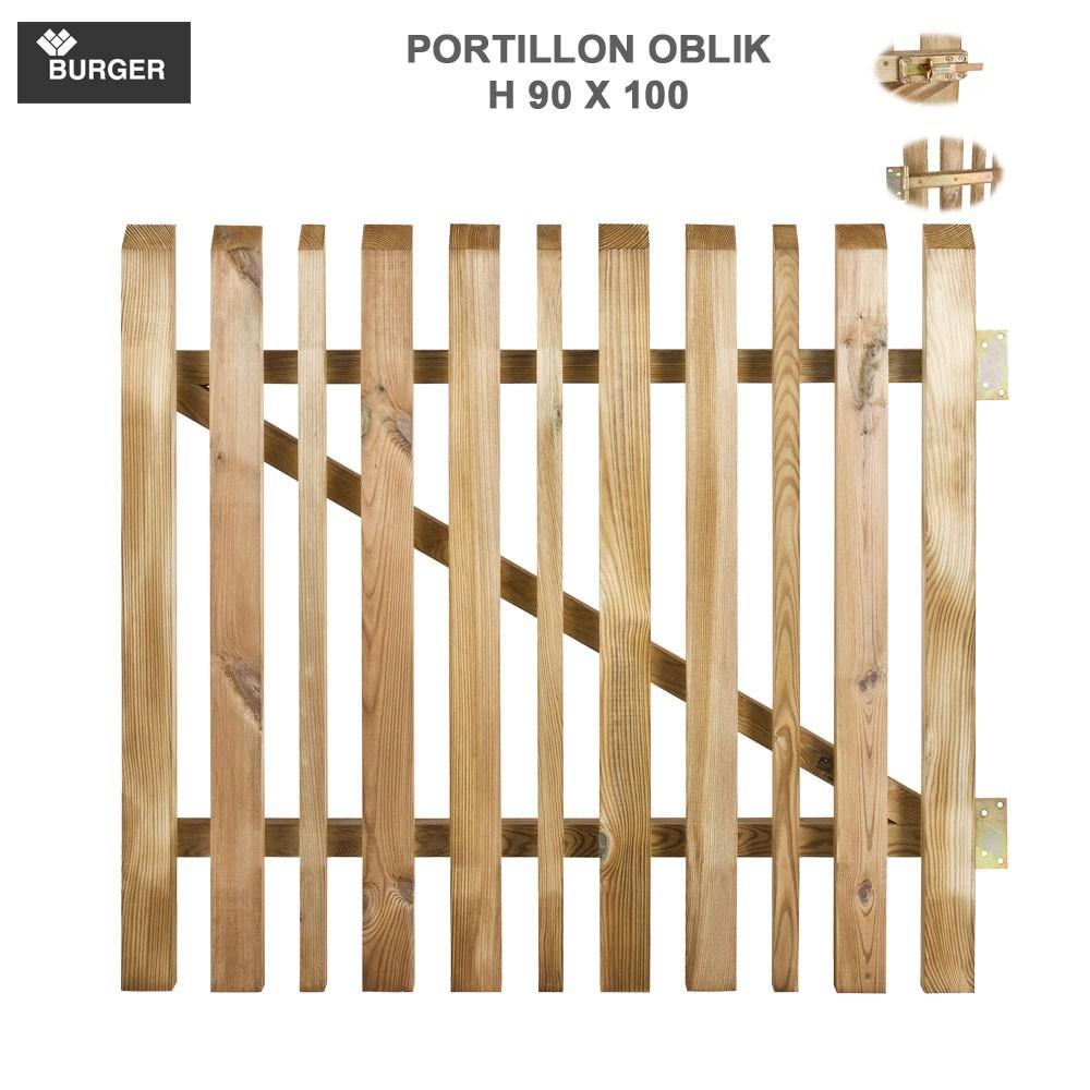 portillon pour cl ture bois de jardin oblik l100 x h90 cm. Black Bedroom Furniture Sets. Home Design Ideas