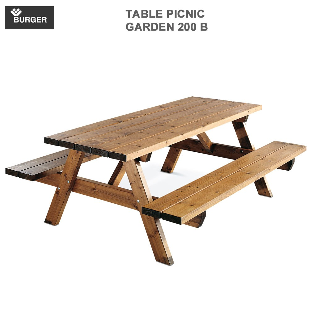 table picnic bois garden 200 b l200 x p160 x h74 cmgarden 200b bu. Black Bedroom Furniture Sets. Home Design Ideas