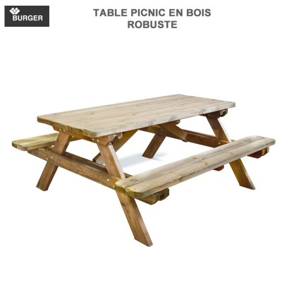 Table picnic en bois de jardin Robuste Burger