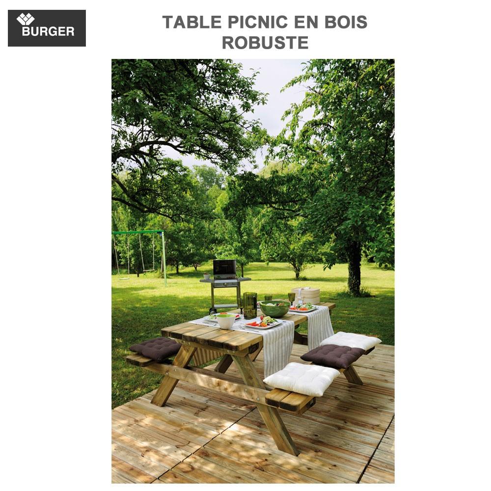 table picnic bois robuste. Black Bedroom Furniture Sets. Home Design Ideas