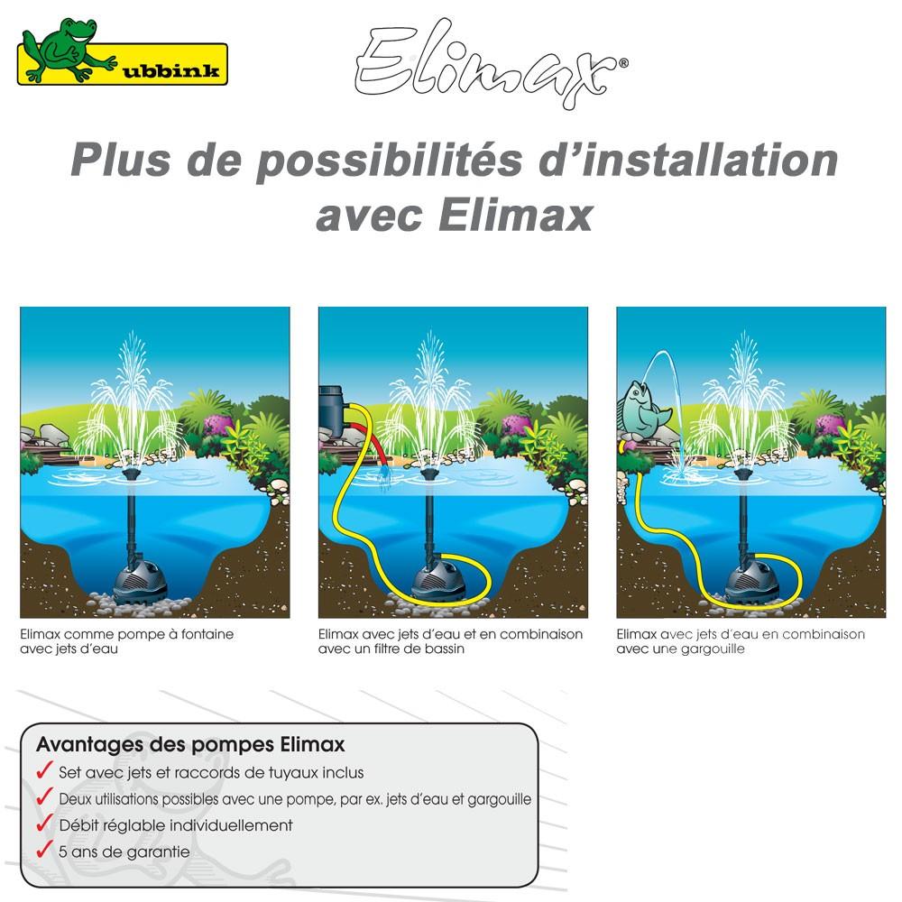 Pompe pour bassin ext rieur elimax 500 1351300 ubbink 8 for Pompe bassin 500 litres