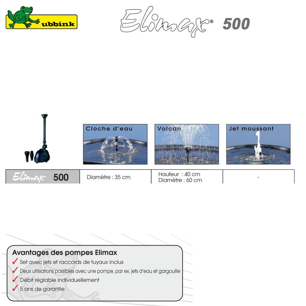 Pompe pour bassin ext rieur elimax 500 1351300 ubbink 8 for Pompe de bassin exterieur