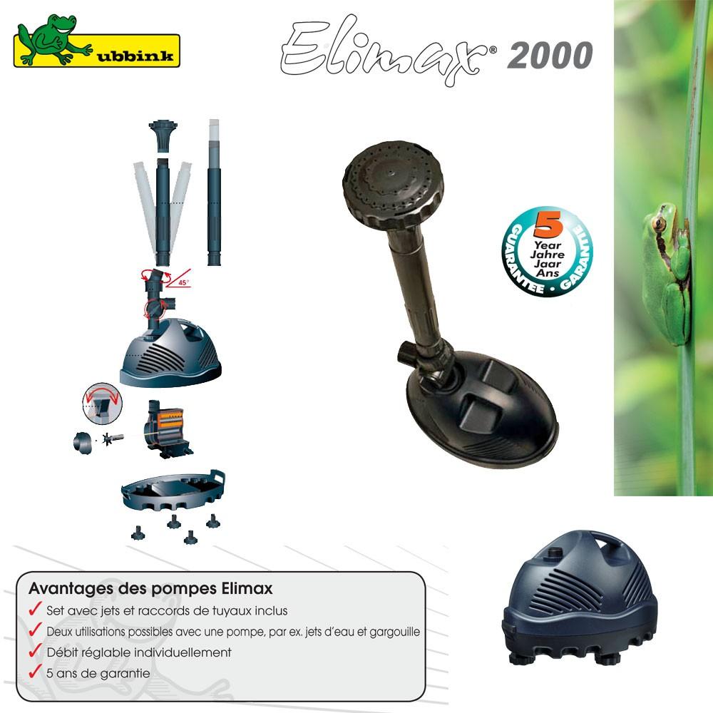 Pompe pour bassin ext rieur elimax 2000 1351311 ubbink 8 for Exterieur 2000