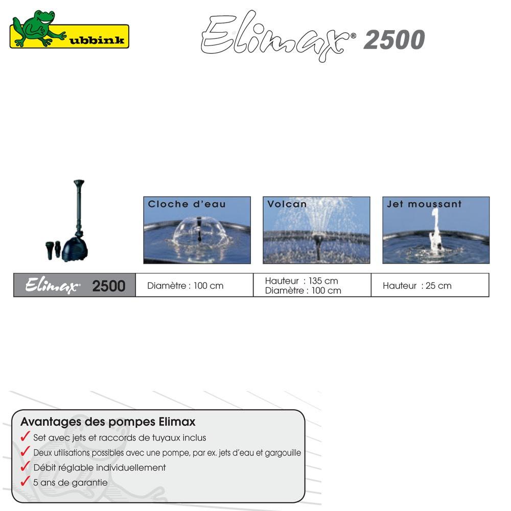 Pompe pour bassin ext rieur elimax 2500 1351303 ubbink 8 for Pompe bassin exterieur