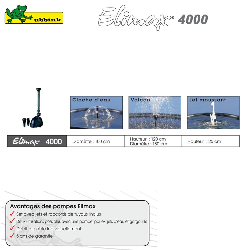 Pompe pour bassin ext rieur elimax 4000 1351304 ubbink 8 for Pompe bassin jardiland