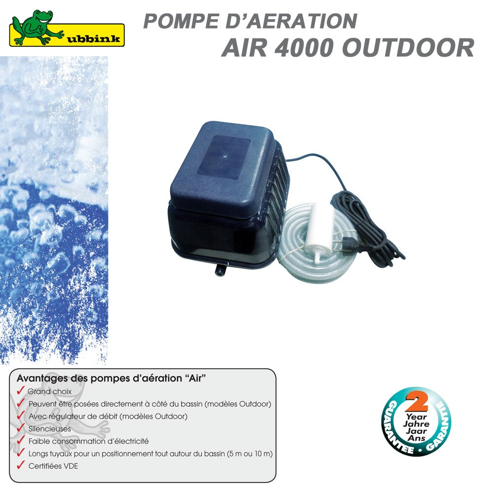 Pompe d 39 a ration pour bassin air outdoor 4000 1351328 ubbink 8 for Pompe a air pour etang