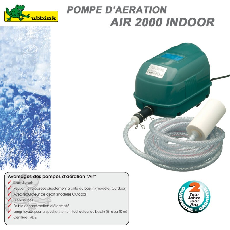 Pompe d 39 a ration pour bassin air indoor 2000 1355076 ubbink 8 for Pompe a oxygene pour bassin