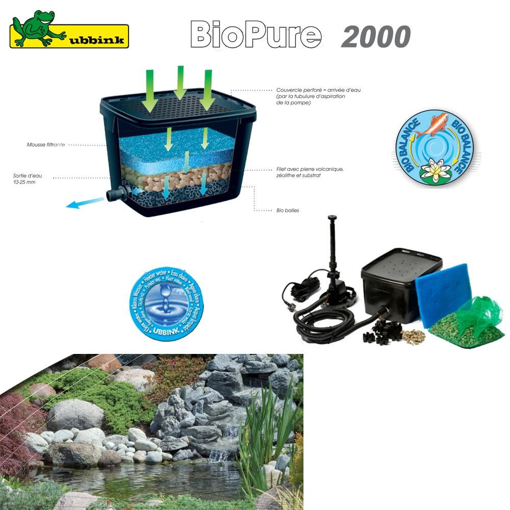 Filtre pour bassin ext rieur biopure 2000 set de base for Fabrication filtre bassin poisson exterieur