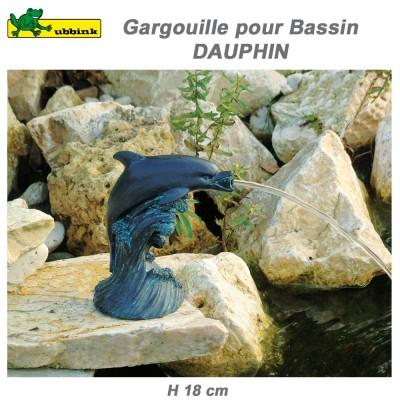 Gargouille de bassin extérieur Dauphin 18 cm par 2