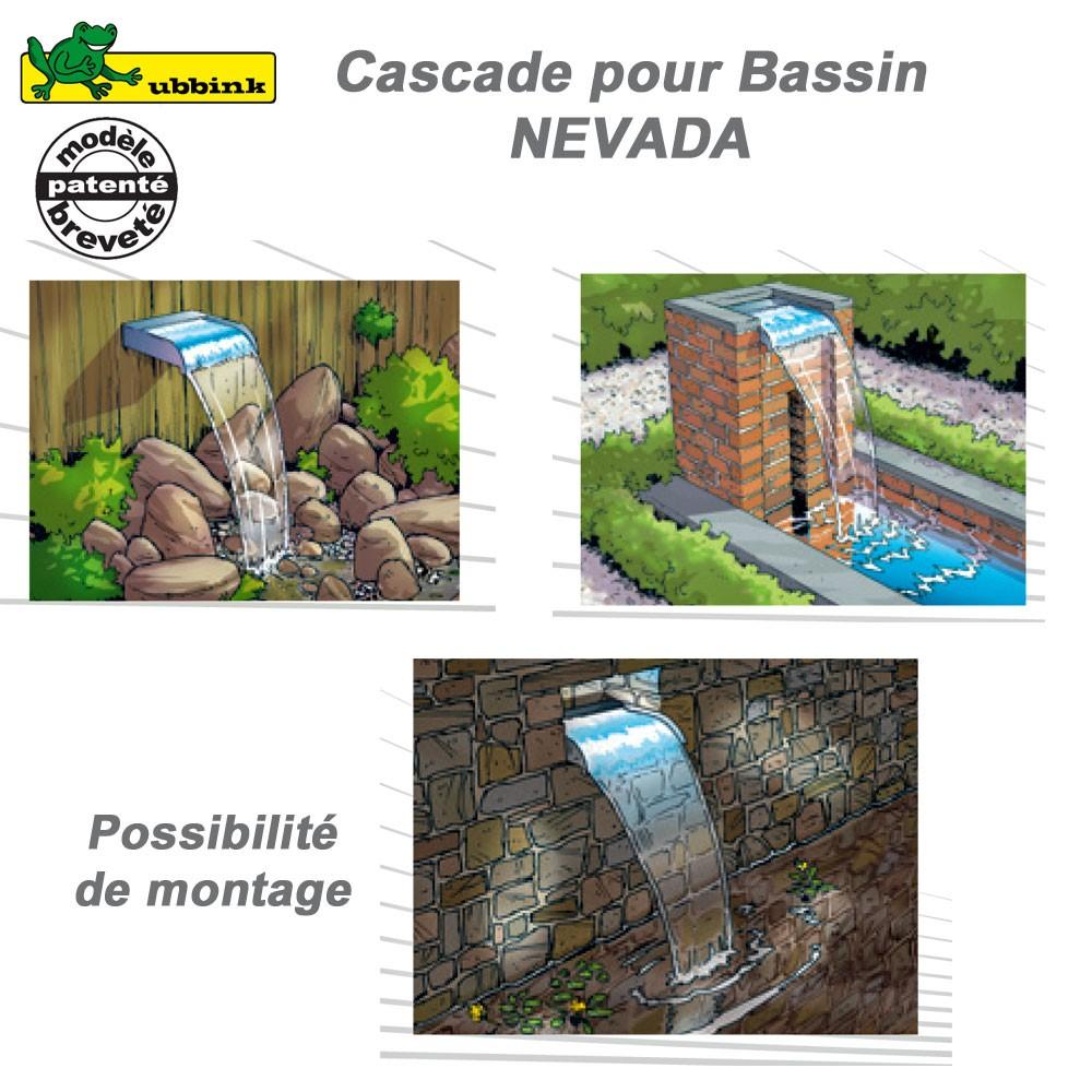 Cascade de bassin de jardin ext rieur nevada 60 led for Bassin de jardin cascade