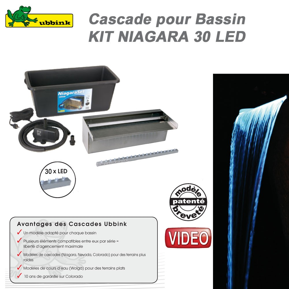 Kit cascade de bassin de jardin ext rieur niagara 30 led for Kit bassin exterieur