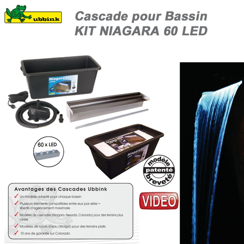 kit cascade de bassin de jardin ext rieur niagara 60 led. Black Bedroom Furniture Sets. Home Design Ideas