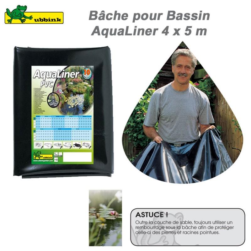 B che pour bassin de jardin pvc aqualiner 4x5 1331950 ubbink 8 for Bache pour bassin auchan
