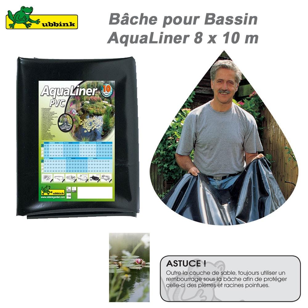 B che pour bassin de jardin pvc aqualiner 8x10 1337101 for Bache pour bassin 10 m