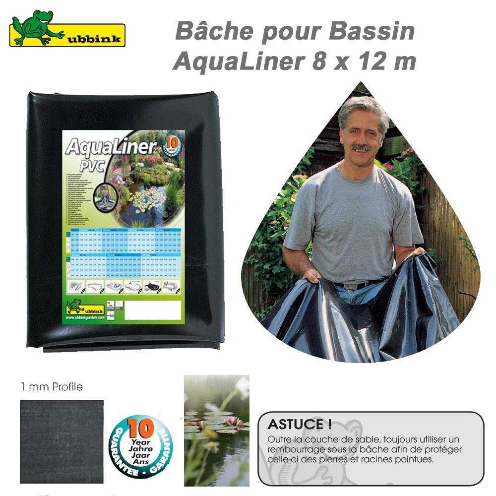 B che pour bassin de jardin pvc aqualiner 8x12 ep 1mm for Bache pour bassin 10x10
