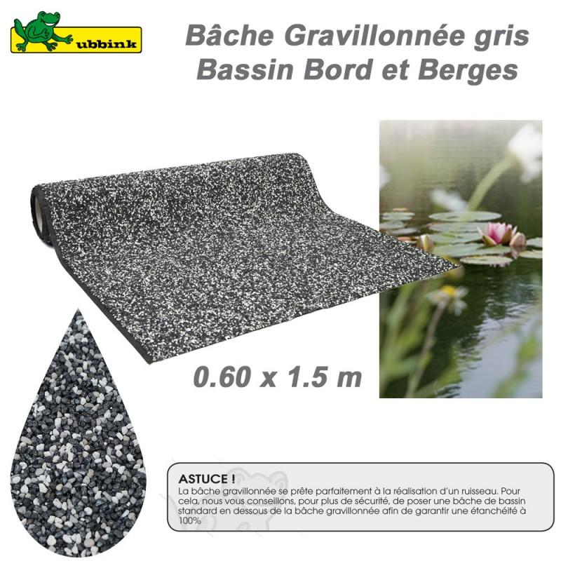 Bâche gravillonnée gris bord de berge de bassin de jardin 1331001 ...