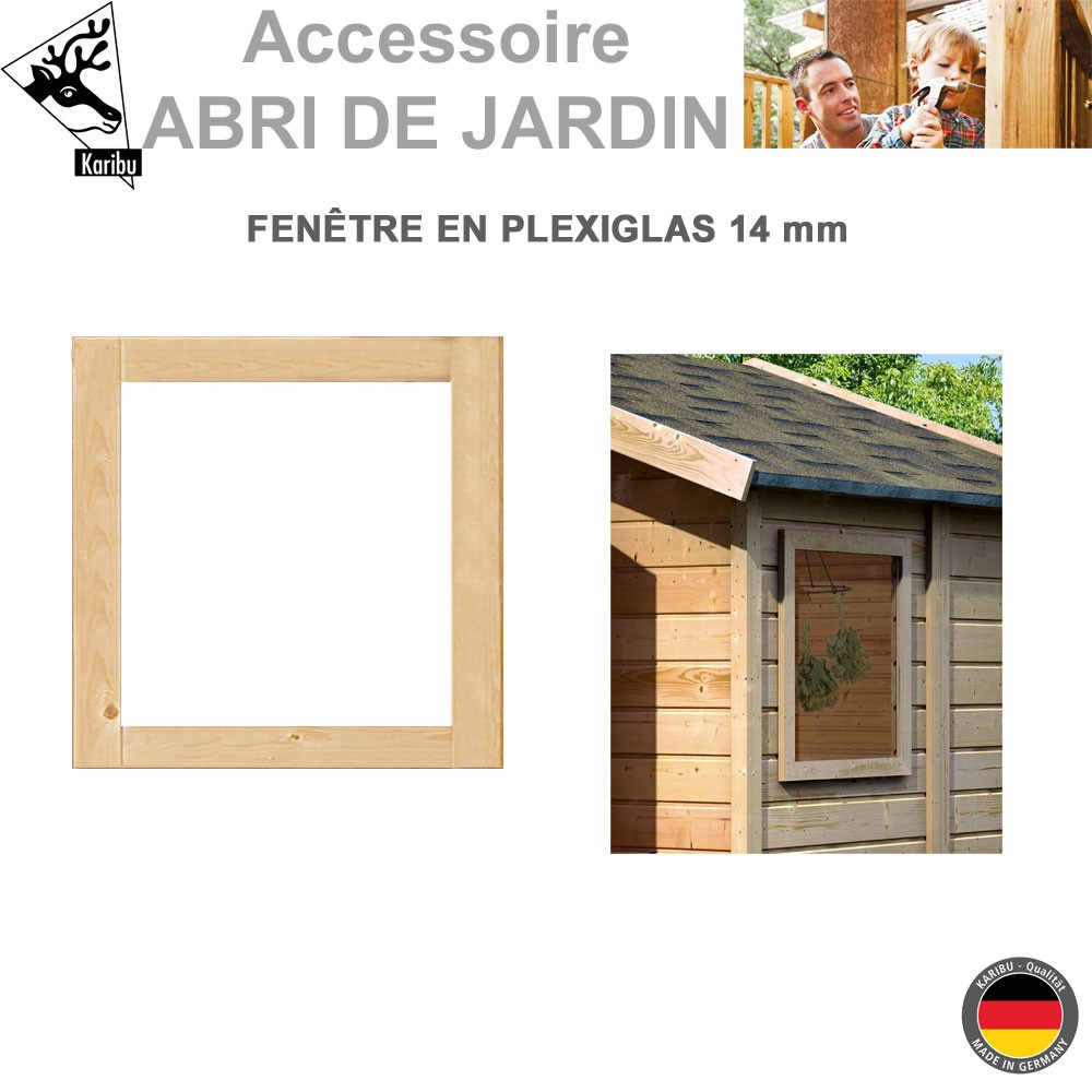 fen tre fixe 14 mm pour abri de jardin 51709 karibu a. Black Bedroom Furniture Sets. Home Design Ideas