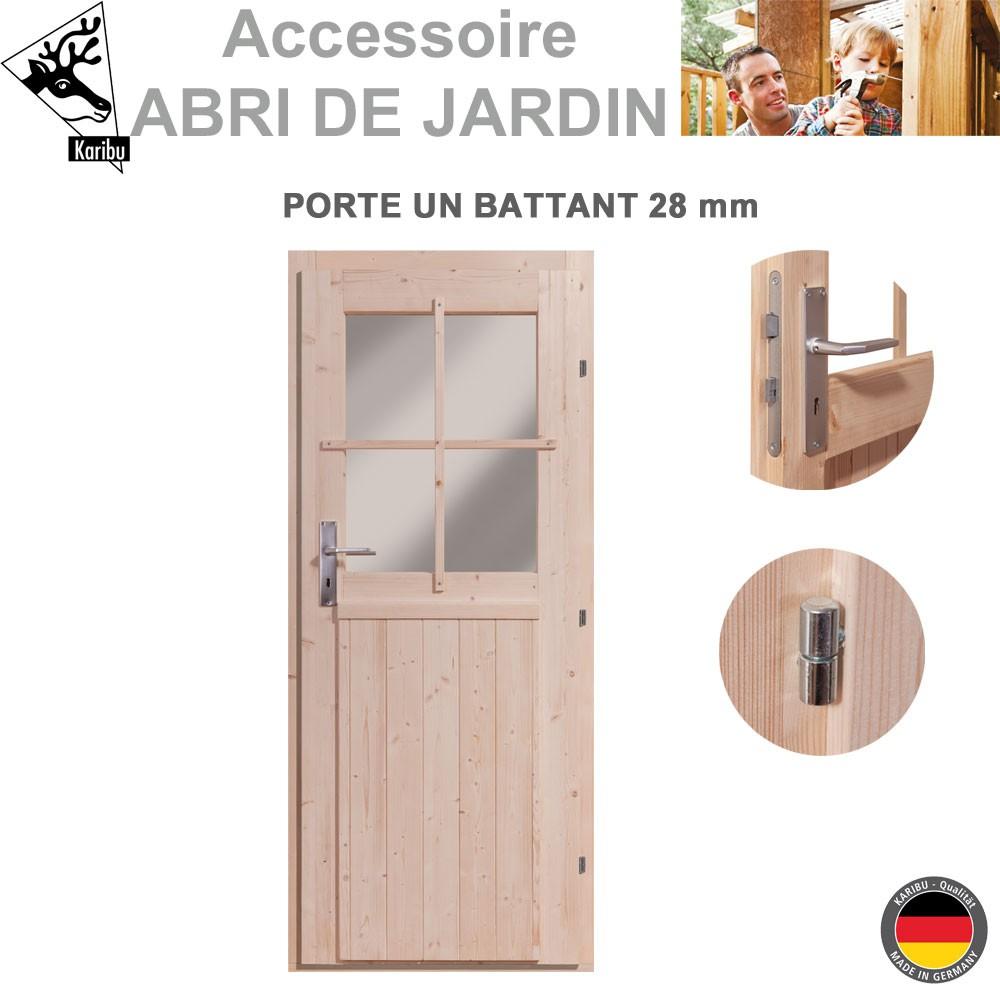 Porte 28 mm pour abri de jardin bois