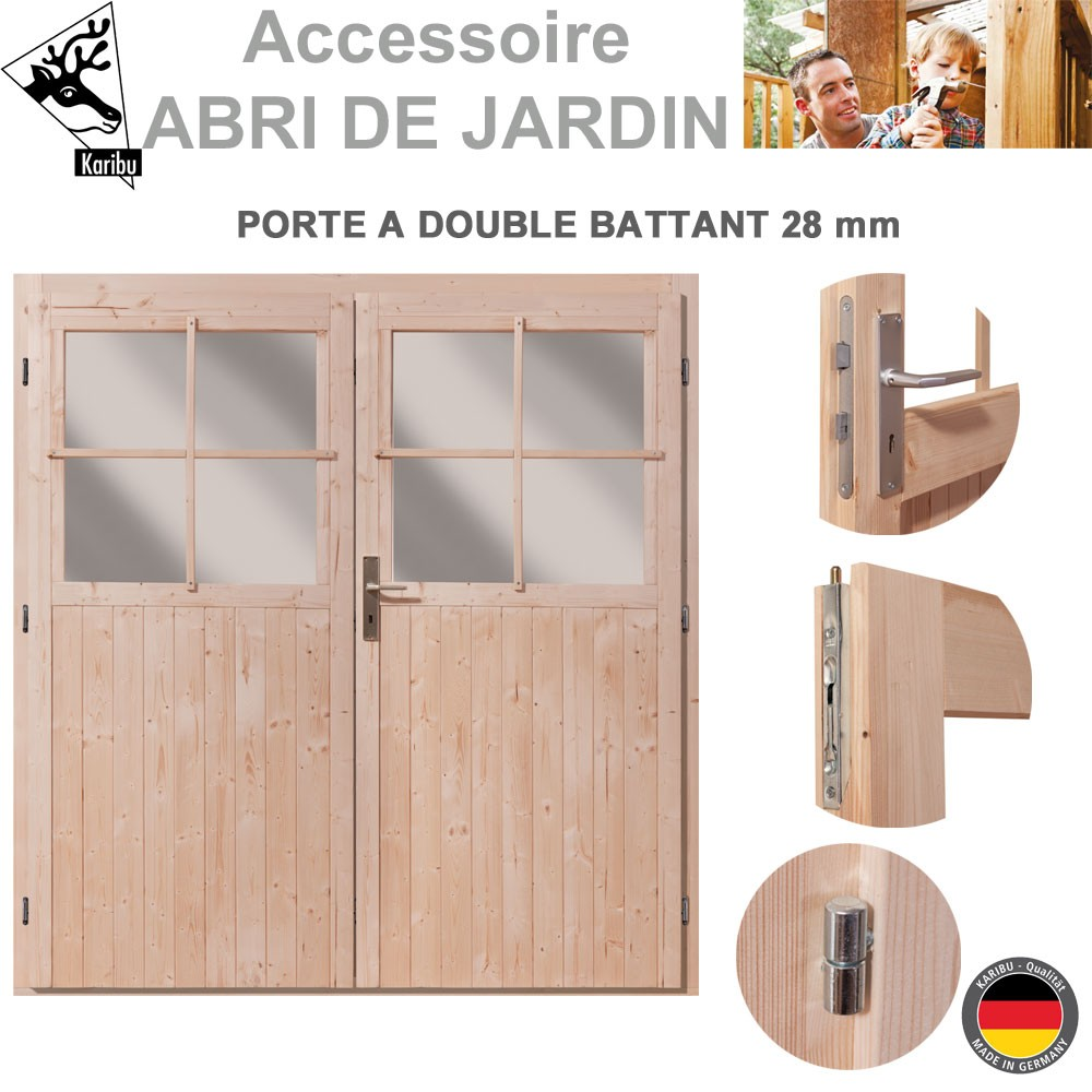 porte double 28 mm pour abri de jardin bois. Black Bedroom Furniture Sets. Home Design Ideas