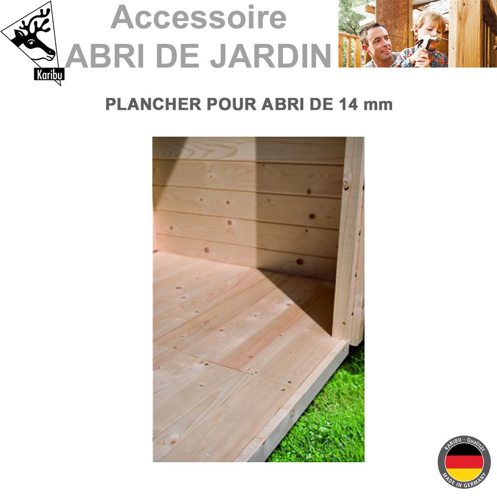 plancher bois pour abri de jardin karibu 14 mm 112 00. Black Bedroom Furniture Sets. Home Design Ideas