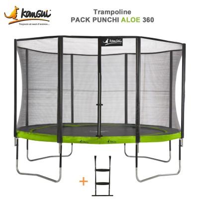 Trampoline 366 cm + filet de sécurité + échelle - Punchi Aloé 360