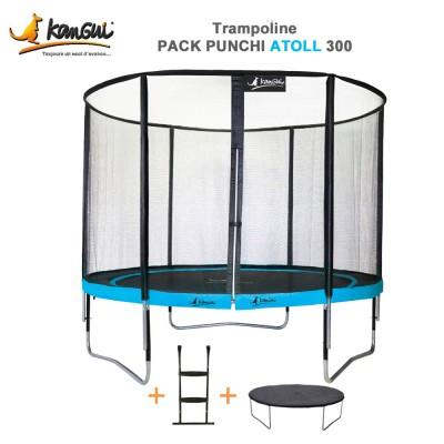 Trampoline de jardin 305 cm + filet de sécurité + échelle + couverture - Punchi Atoll 300