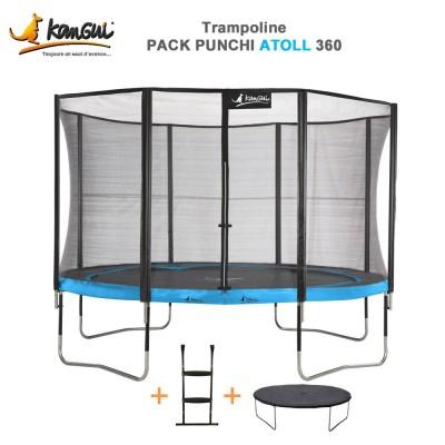 Trampoline 366 cm + filet de sécurité + échelle + couverture - Punchi Atoll 360