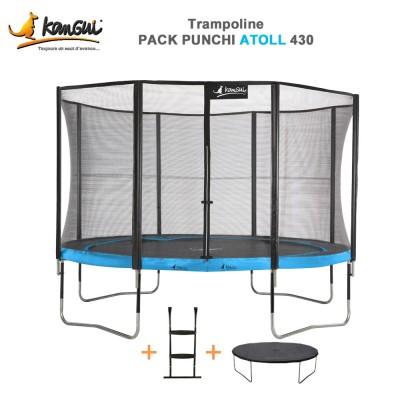 Trampoline 426 cm + filet de sécurité + échelle couverture - Punchi Atoll 430