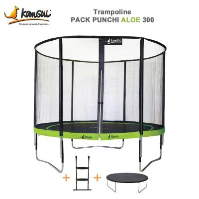 Trampoline 305 cm + filet de sécurité + échelle + couverture - Punchi Aloé 300