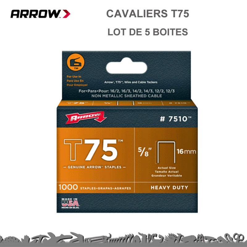 Agrafes Arrow cable T75 - 14 - 16 et 22 mm
