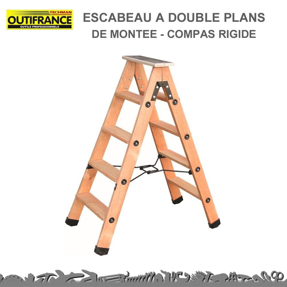 escabeau bois 8 marches double plans de mont e compas rigide. Black Bedroom Furniture Sets. Home Design Ideas
