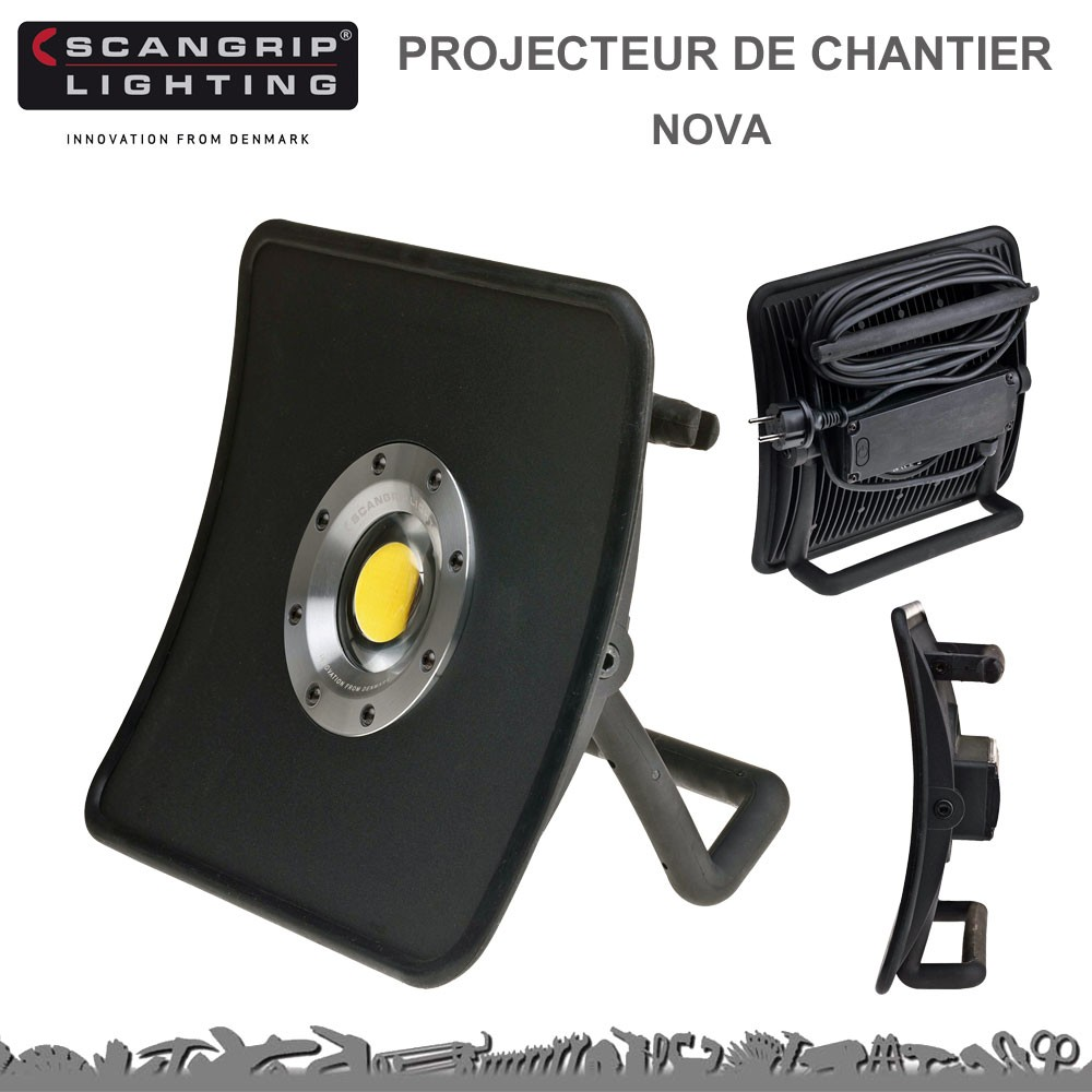 projecteur de chantier nova 50 w 5000 lumens 8990701 scangrip lig. Black Bedroom Furniture Sets. Home Design Ideas