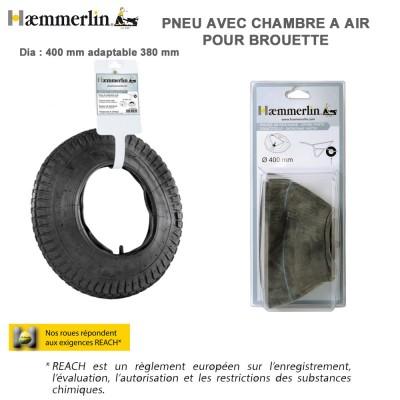 Pneu + Chambre à air diam 400 mm pour brouettte BA