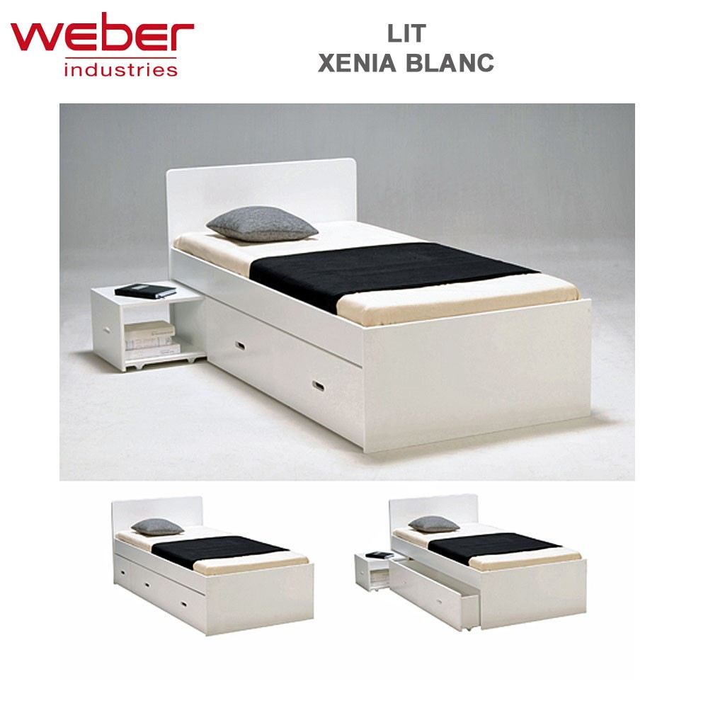 lit xenia 90x190 chevet tiroir laqu blanc 2280 9 weber. Black Bedroom Furniture Sets. Home Design Ideas