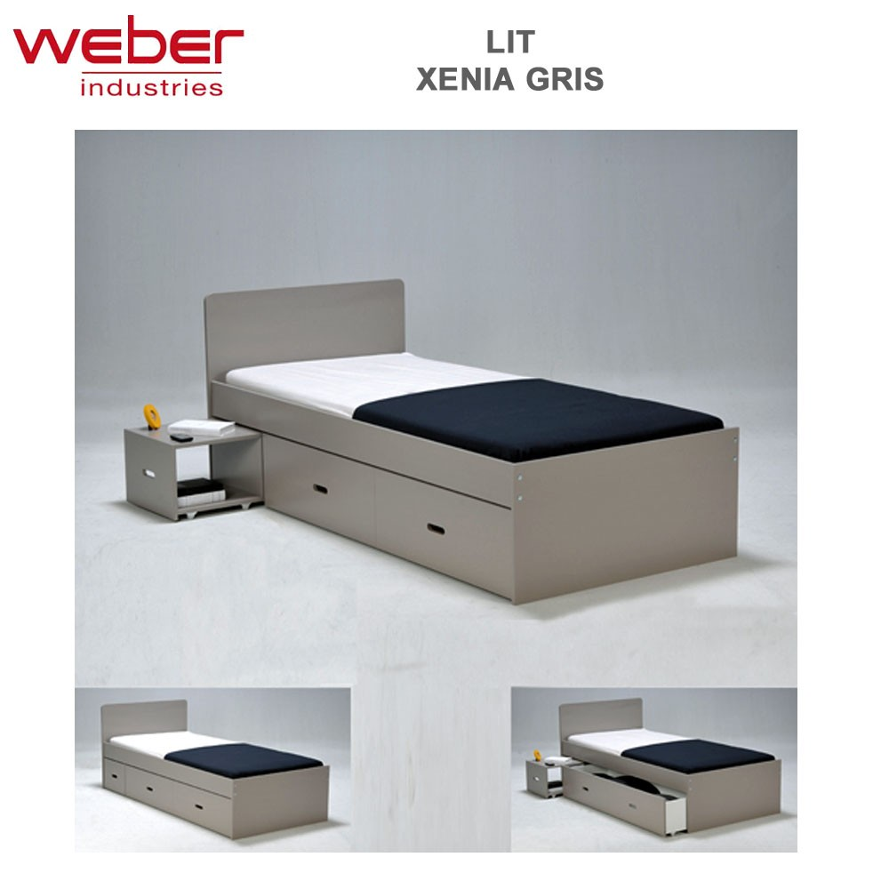 lit xenia 90x190 chevet tiroir gris 2280 44 weber. Black Bedroom Furniture Sets. Home Design Ideas