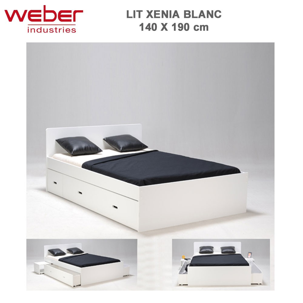 lit xenia 140x190 2 chevets 2 tiroirs laqu blanc. Black Bedroom Furniture Sets. Home Design Ideas