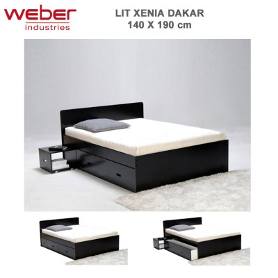 lit xenia 140x190 2 chevets 2 tiroirs dakar 2281 37 weber. Black Bedroom Furniture Sets. Home Design Ideas