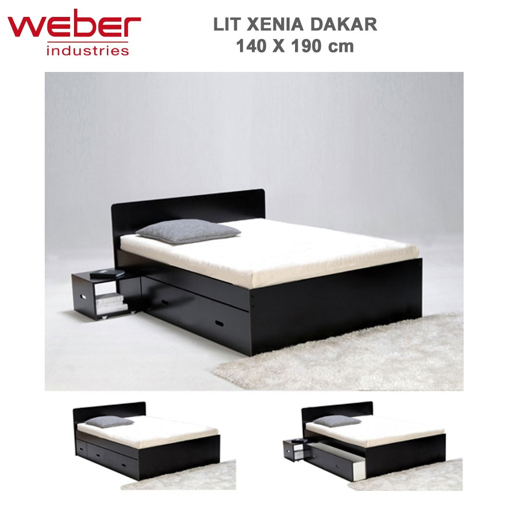 lit xenia 140x190 2 chevets 2 tiroirs dakar 2281 37. Black Bedroom Furniture Sets. Home Design Ideas
