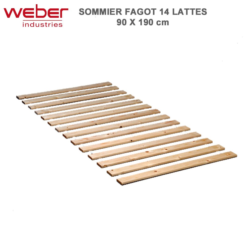 sommier fagot 14 lattes 90 x 190 1090 weber. Black Bedroom Furniture Sets. Home Design Ideas