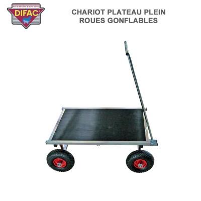 Chariot plateau plein roues gonflables pour cage