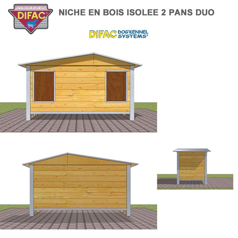 niche d 39 ext rieur pour chien en bois isol e 2 pans. Black Bedroom Furniture Sets. Home Design Ideas