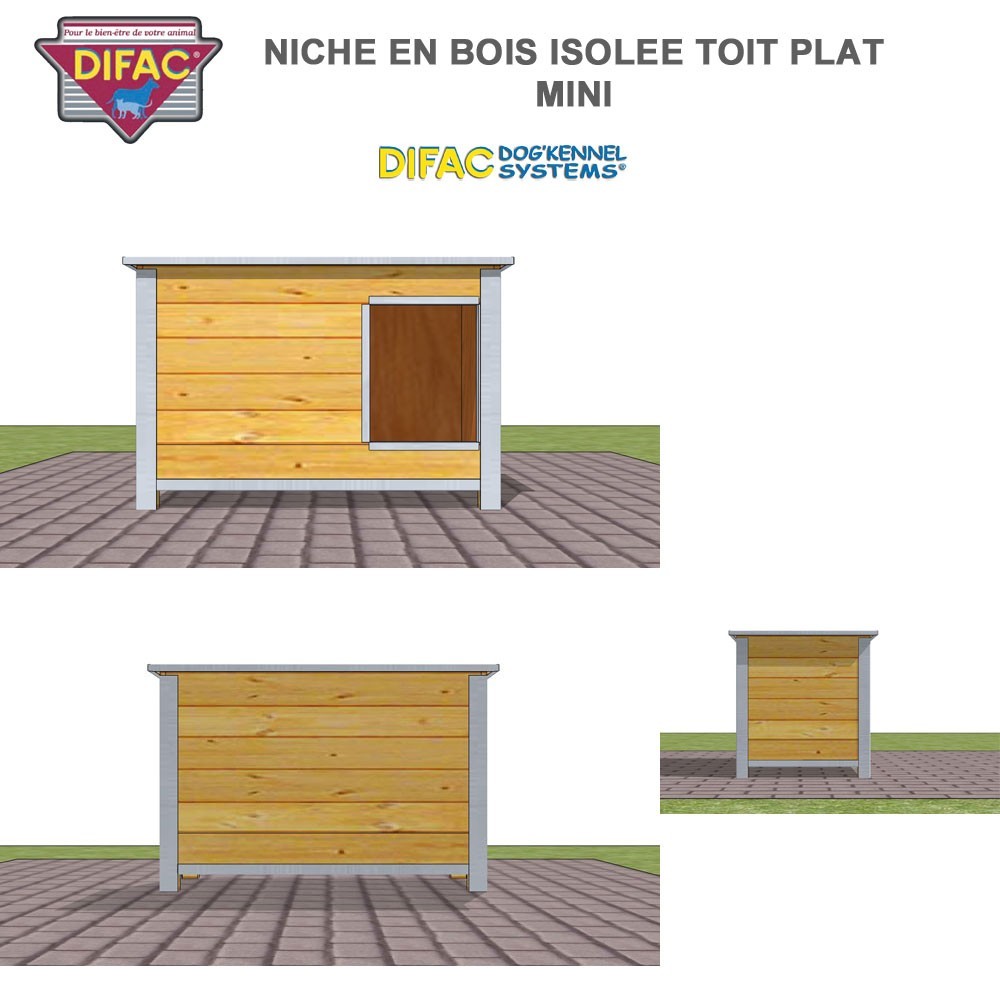 niche d 39 ext rieur pour chien en bois isol e toit plat 930007 difac. Black Bedroom Furniture Sets. Home Design Ideas