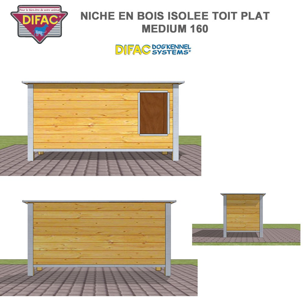niche d 39 ext rieur pour chien en bois isol e toit plat. Black Bedroom Furniture Sets. Home Design Ideas