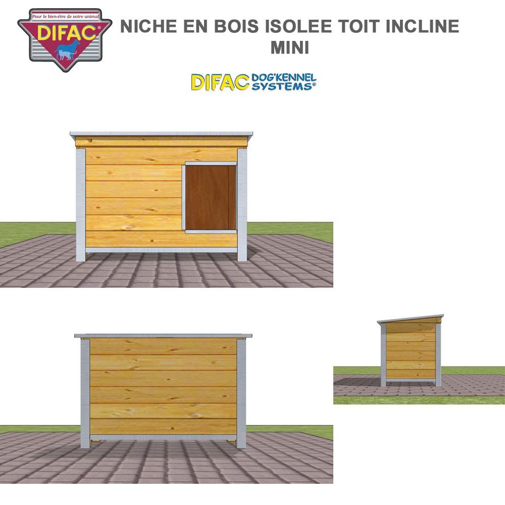 niche d 39 ext rieur pour chien en bois isol e toit inclin. Black Bedroom Furniture Sets. Home Design Ideas