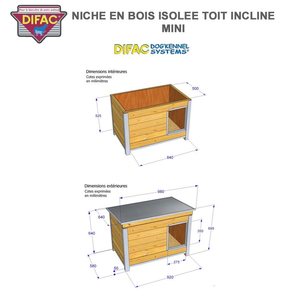 Niche d 39 ext rieur pour chien en bois isol e toit inclin for Niche exterieur pour chien