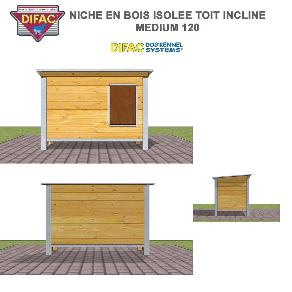 niche d 39 ext rieur pour chien en bois isol e toit inclin 930013 difac. Black Bedroom Furniture Sets. Home Design Ideas