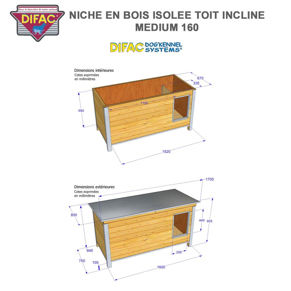 niche d 39 ext rieur pour chien en bois isol e toit inclin 930013 difac. Black Bedroom Furniture Sets. Home Design Ideas