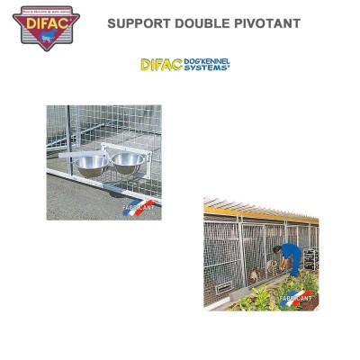 Support double pivotant pour chenil