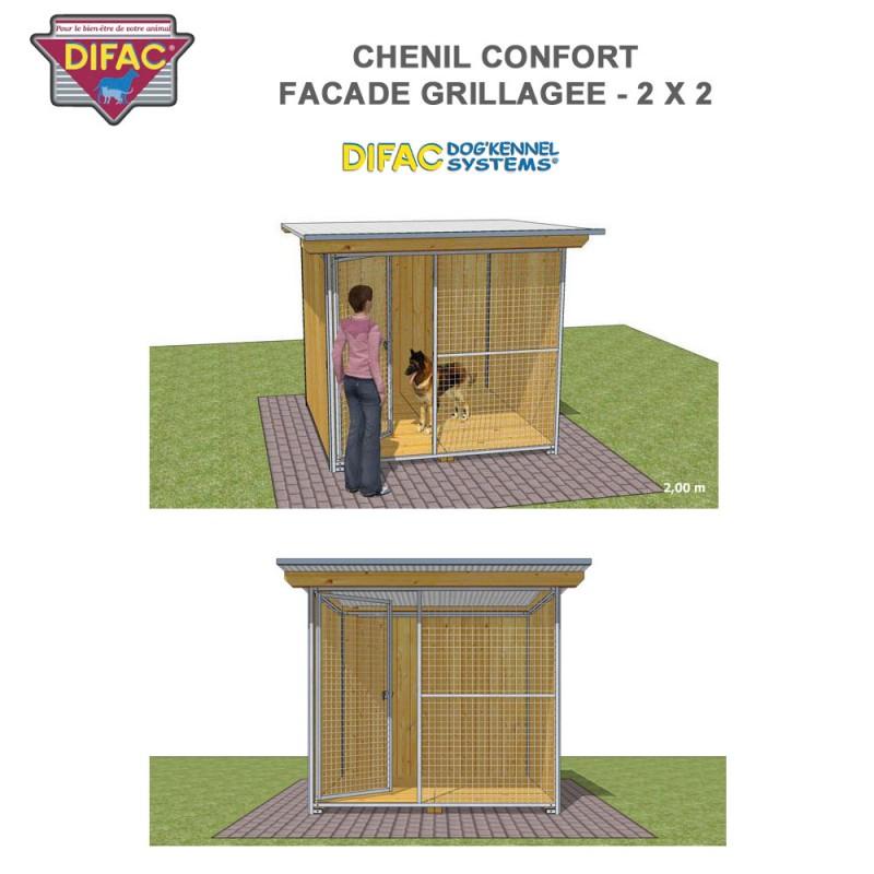 Chenil Confort grillagé 2 x 2 mètres