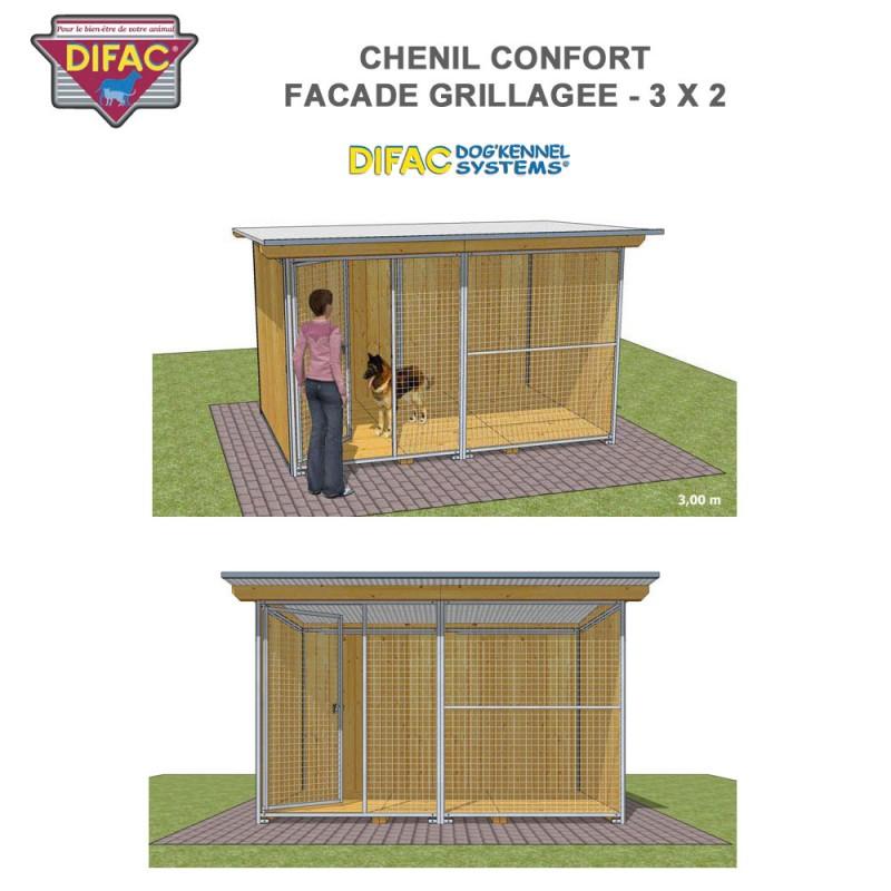 Chenil Confort grillagé 3 x 2 mètres
